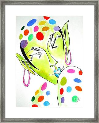 Fey -- The Original -- Fantasy Elf Portrait With Polka Dots Framed Print