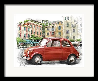 Portofino Cafe Digital Art Framed Prints