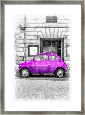 Fiat 500 Watercolor Framed Print by Edward Fielding