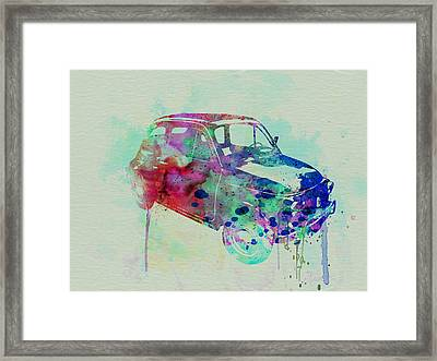 Fiat 500 Watercolor Framed Print by Naxart Studio
