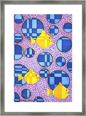 Fibonacci Fish In The Deep Blue Sea Framed Print by Minaz Jantz