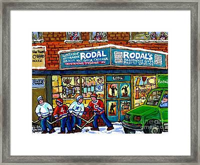 Fiddler On The Roof Painting Canadian Art Jewish Montreal Memories Rodal Gift Shop Van Horne Hockey  Framed Print by Carole Spandau
