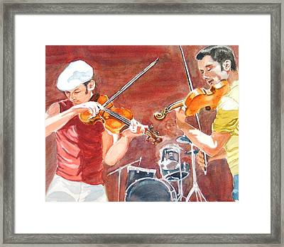 Framed Print featuring the painting Fiddles by Karen Ilari