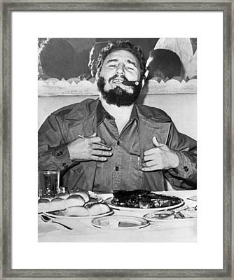 Fidel Castro In New York Framed Print by Underwood Archives