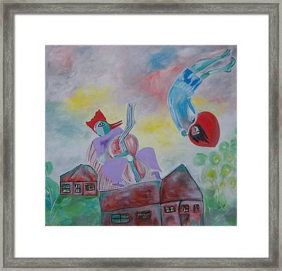 Framed Print featuring the painting Fidler On The Roof by Sima Amid Wewetzer
