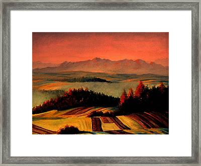 Field And Mountain Framed Print