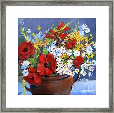 Framed Print featuring the painting Field Bouquet by Marta Styk