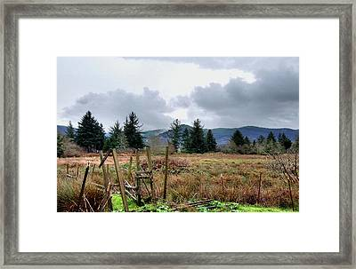 Framed Print featuring the photograph Field, Clouds, Distant Foggy Hills by Chriss Pagani