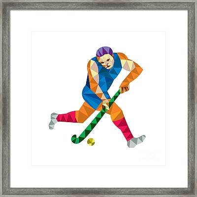 Field Hockey Player Running With Stick Low Polygon Framed Print by Aloysius Patrimonio