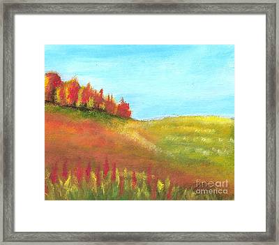 Field In Autumn Framed Print by Vivian  Mosley