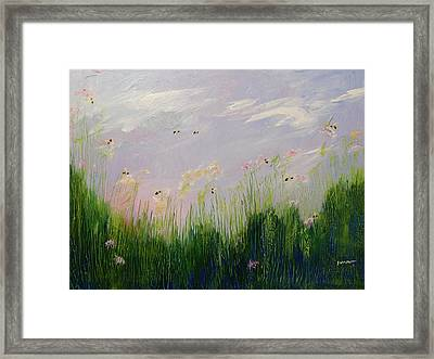 Field Of Bee's Framed Print by Sue Furrow
