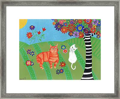 Field Of Cats And Dreams Framed Print