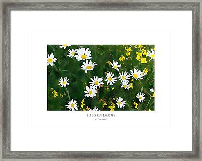 Framed Print featuring the digital art Field Of Daisies by Julian Perry