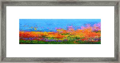 Abstract Field Of Wildflowers, Modern Art Palette Knife Framed Print