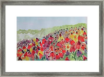 Framed Print featuring the painting Field Of Flowers by Sandy McIntire