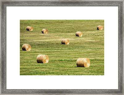 Field Of Large Round Bales Of Hay Framed Print