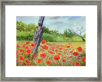 Framed Print featuring the painting Field Of Red Flowers by Ron Stephens