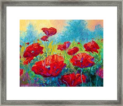 Field Of Red Poppies Framed Print by Marion Rose