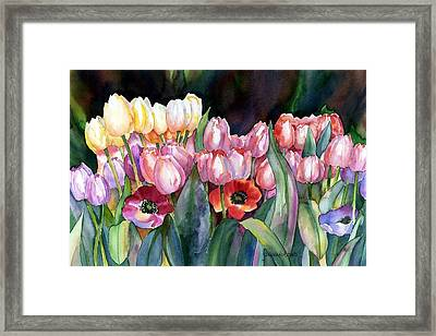 Field Of Tulips Framed Print by Yolanda Koh