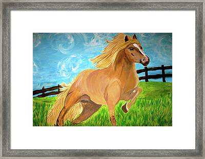 Framed Print featuring the painting Field Runner by Rebecca Wood