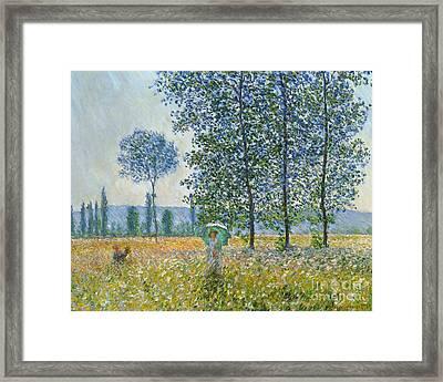 Fields In Spring, 1887 Framed Print by Claude Monet