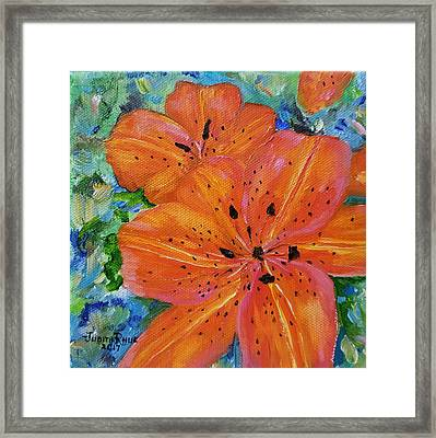 Framed Print featuring the painting Fierce Tiger by Judith Rhue