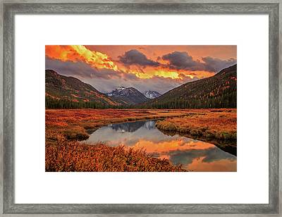 Framed Print featuring the photograph Fiery Bear River Sunset by Johnny Adolphson