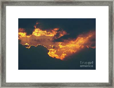 Fiery Break In The Dark Clouds Framed Print by Michal Boubin