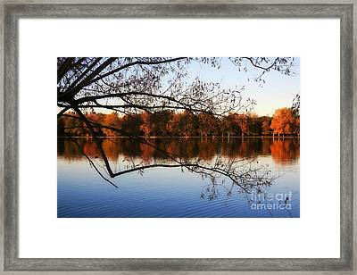 Fiery Colors On The Lake Framed Print
