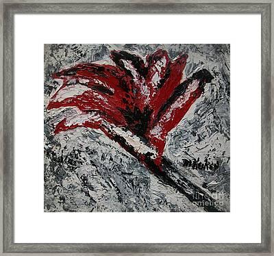 Fiery Flower Framed Print by Marsha Heiken
