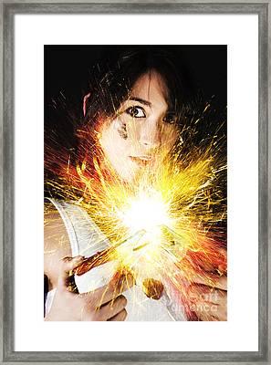 Fiery Jump Start Framed Print by Jorgo Photography - Wall Art Gallery