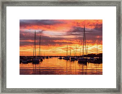 Fiery Lake Norman Sunset Framed Print