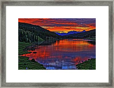 Framed Print featuring the photograph Fiery Lake by Scott Mahon