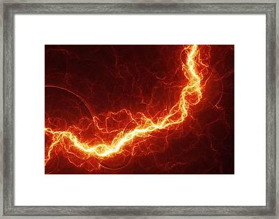 Fiery Lightning Framed Print by Martin Capek