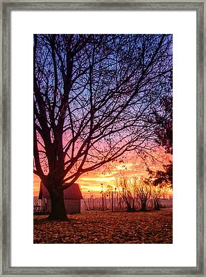Framed Print featuring the photograph Fiery Morning Sunrise by Lars Lentz