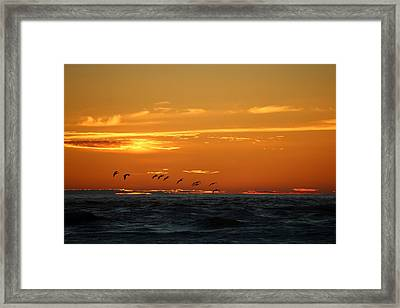 Framed Print featuring the photograph Fiery Ocean Sunset - 3 by Christy Pooschke