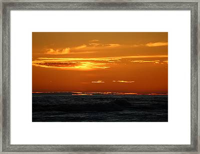 Framed Print featuring the photograph Fiery Ocean Sunset - 4 by Christy Pooschke