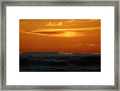 Framed Print featuring the photograph Fiery Ocean Sunset by Christy Pooschke