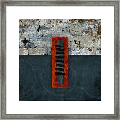 Fiery Red And Indigo One Of Two Framed Print by Carol Leigh