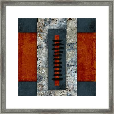 Fiery Red And Indigo Two Of Two Framed Print by Carol Leigh