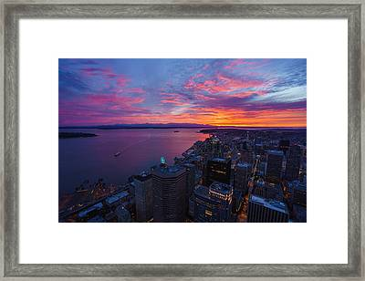 Fiery Seattle Sunset And Skyline Framed Print by Mike Reid