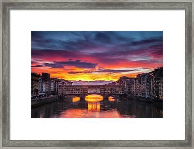 Fiery Sunrise Over Ponte Vecchio Framed Print