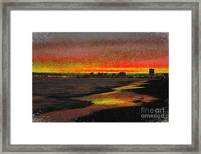 Framed Print featuring the digital art Fiery Sunset by Mariola Bitner
