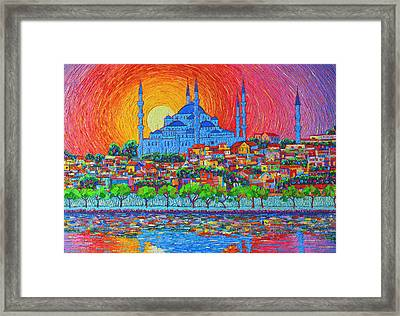 Fiery Sunset Over Blue Mosque Hagia Sophia In Istanbul Turkey Framed Print