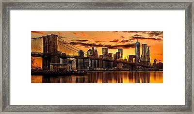 Fiery Sunset Over Manhattan  Framed Print by Az Jackson
