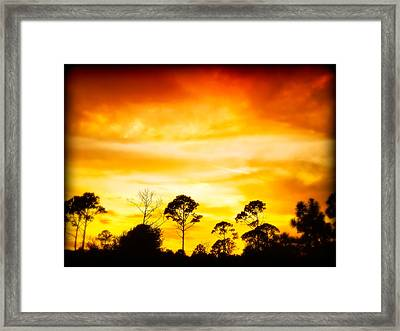Fiery Sunset Framed Print by Rich Leighton