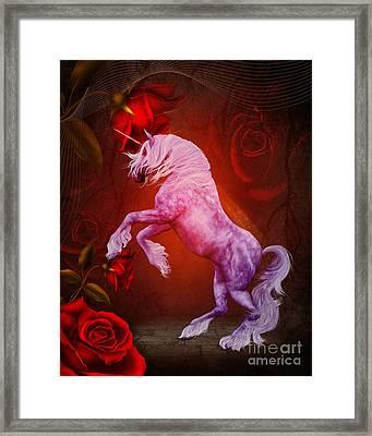 Fiery Unicorn Fantasy Framed Print by Smilin Eyes  Treasures