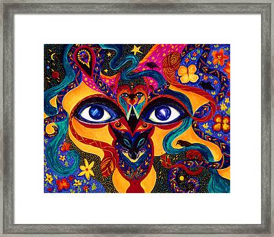 Framed Print featuring the painting All Seeing by Marina Petro