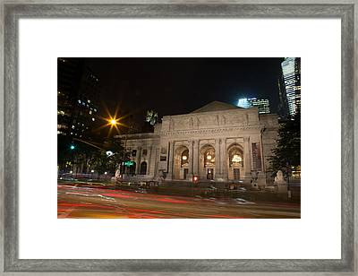 Fifth Avenue And Library Framed Print by John Dryzga