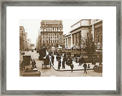 Fifth Avenue And New York City Public Library 1908 Framed Print by Padre Art